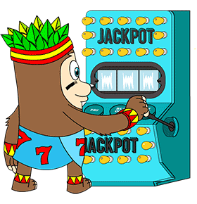 Slot spinning mascot